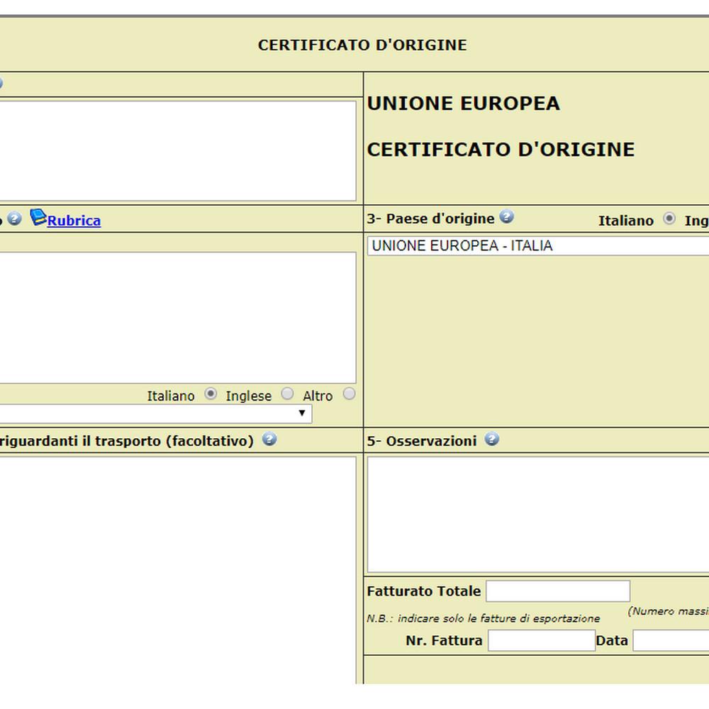 git - certificato di origine - telematico - cartaceo - camera di commercio di napoli -